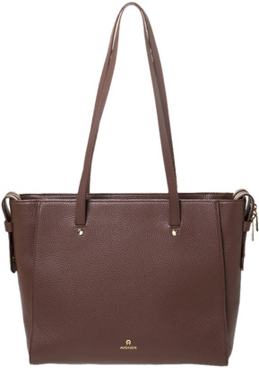 Aigner Brown Leather Top Zip Tote