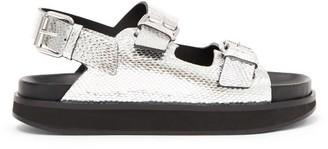 Isabel Marant Ophie Buckled Snake-effect Leather Sandals - Silver