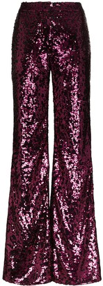 Halpern Sequinned Flared Trousers