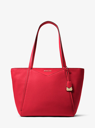 MICHAEL Michael Kors MK Whitney Large Leather Tote Bag - Bright Red - Michael Kors