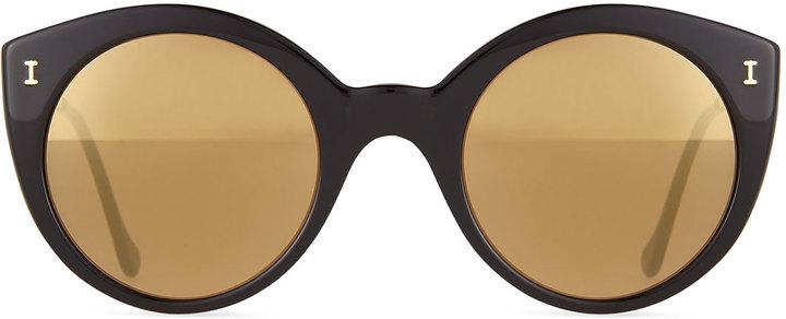 Illesteva Palm Beach Mirrored Sunglasses, Black/Gold