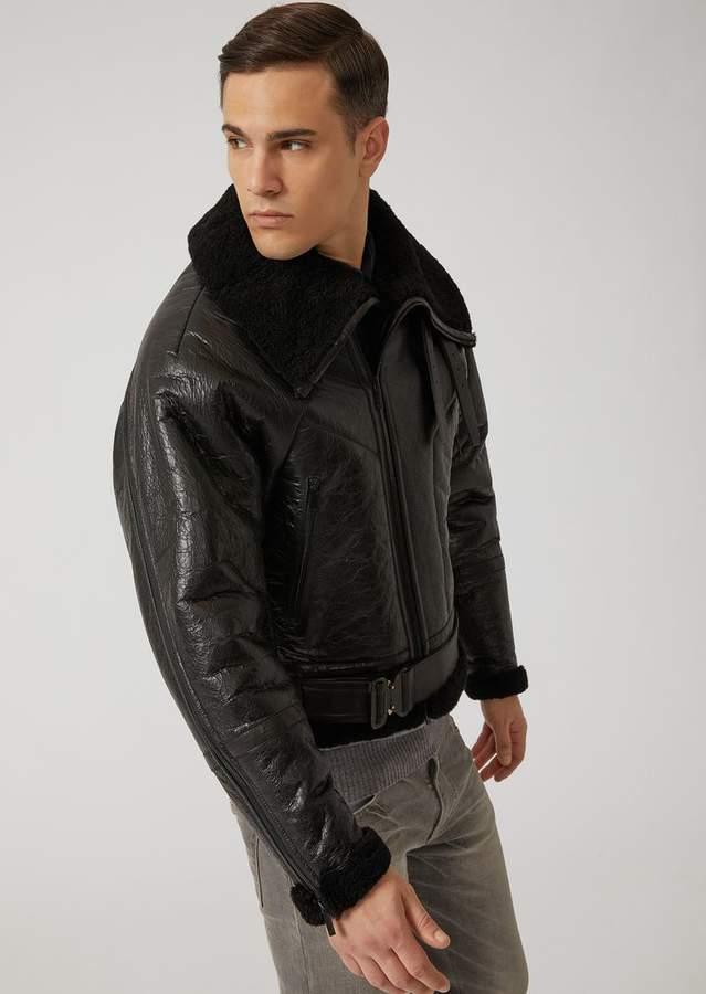 Emporio Armani Biker Jacket In Vintage-Effect Nappa Sheepskin With Detachable Belt