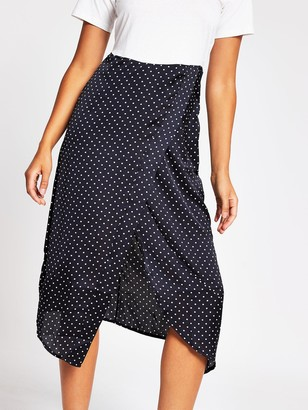 River Island Woven Jersey Mix Midi Dress - White/Spot Print