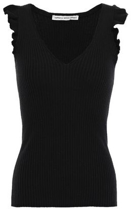Autumn Cashmere Cotton By Ruffle-trimmed Ribbed Cotton-blend Top