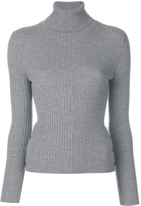 Thom Browne Striped Half-and-Half Rib Knit Turtleneck In Fine Merino Wool