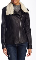 Soia & Kyo Removable Faux Shearling Collar Leather Moto Jacket