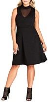 City Chic Plus Size Women's Sheer Neck A-Line Dress