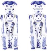 N. Hear No Evil Porcelain Candlesticks, Set of 2
