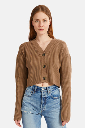 Moussy Light Brown Rib Stitch Cardigan