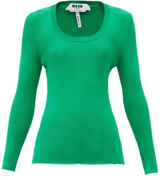 MSGM Scoop-neck Chevron-knitted Top - Green