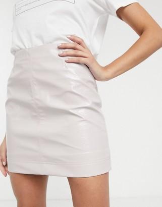Monki cracked patent mini skirt in light beige