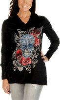 Black Floral Skull V-Neck Hoodie - Plus Too