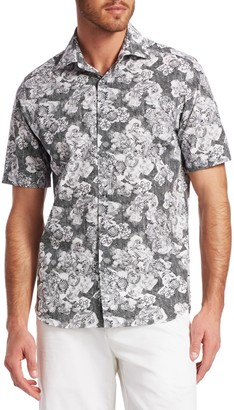 Saks Fifth Avenue Abstract Floral Woven Shirt
