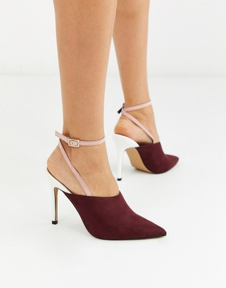 ASOS DESIGN Photography pointed high heels in beige burgundy and white