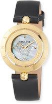 Versace 33mm Eon Reversible-Bezel Watch w/ Leather Strap, Golden/Black