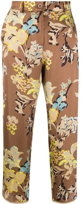 Seventy Floral Print Cropped Trousers