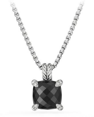 David Yurman 11mm Châtelaine Onyx Pendant Necklace with Diamonds