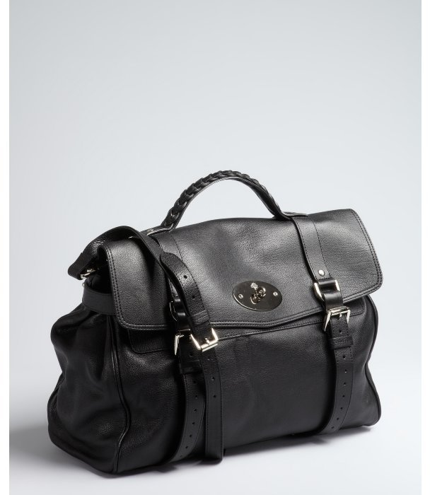 Mulberry black leather 'Alexa' oversized convertible satchel