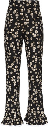 Miu Miu Daisy-Print High-Waisted Trousers