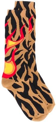 Palm Angels Zebra Jacquard Flames Socks