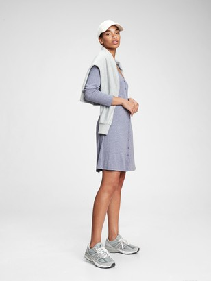 Gap Triblend Button-Front Flare Dress