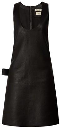 Bottega Veneta Patch-pocket Leather Midi Dress - Black