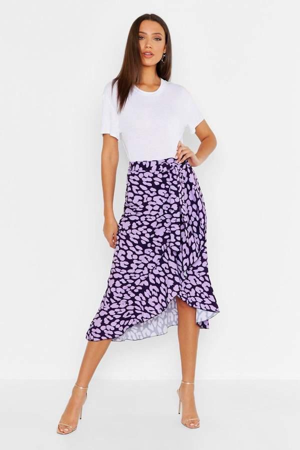 boohoo Tall Leopard Print Ruffle Midi Skirt