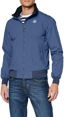 North Sails Sailor Men's Jacket in Vintage Indigo Recycled Nylon Finished with Tactile Ribbed Trims & Slim Fit - XXL