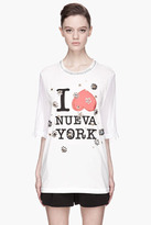 3.1 Phillip Lim White silk floral gem embroidered NY t-shirt