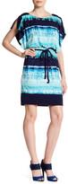 Sangria Dolman Slit Sleeve Print Dress