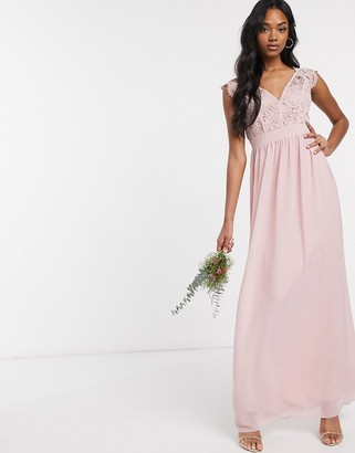 TFNC Bridesmaid lace plunge maxi dress with scaloped back in pink