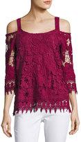 Neiman Marcus Crochet Cold-Shoulder Top, Maroon
