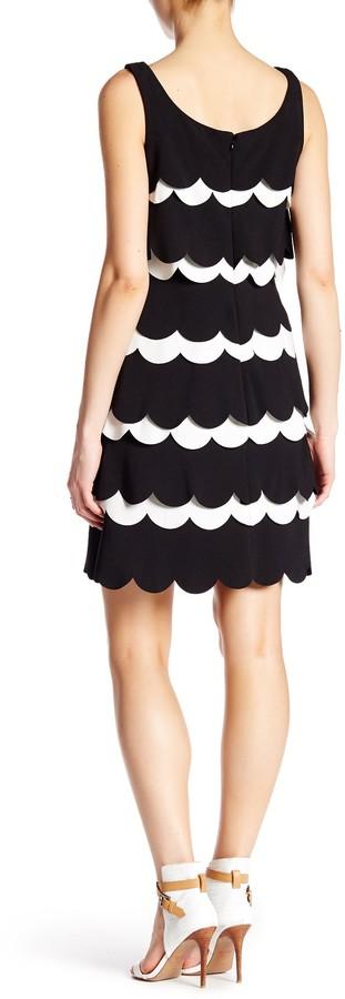 Julia Jordan Sleeveless Scalloped Crepe Sheath Dress