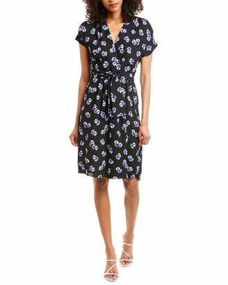 Anne Klein Women's V-Neck Belted Waist WRAP Dress