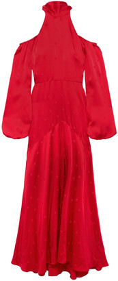 Temperley London Cold-shoulder Fluted Satin-jacquard Maxi Dress