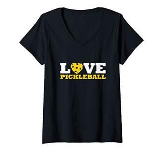 Womens Love Pickleball Gift Pickleball Present V-Neck T-Shirt