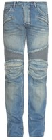 Balmain Light-wash distressed slim-leg jeans
