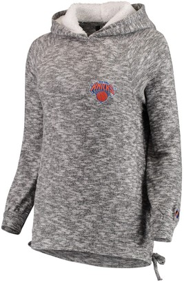 Women's FISLL Heathered Gray New York Knicks Side Lace Sherpa Hacci Tri-Blend Pullover Hoodie