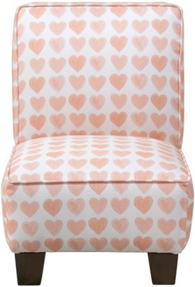 Skyline Furniture Kids Slipper Chair in Hearts Peach