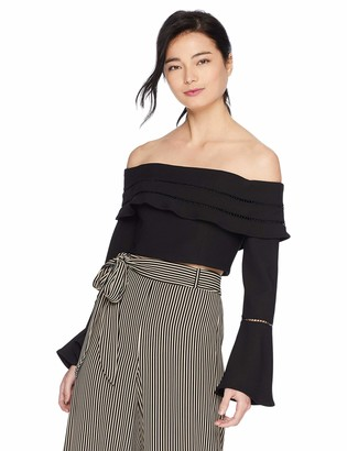 Finders Keepers findersKEEPERS Women's Immortal Off The Shoulder Long Flare Sleeve Top