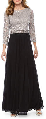 ONYX Onyx Nites 3/4 Sleeve Lace Beaded Evening Gown