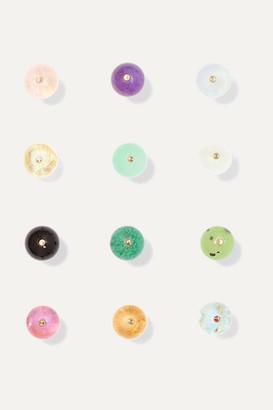 Saskia Diez Birthday Gold And Stone Earrings - January