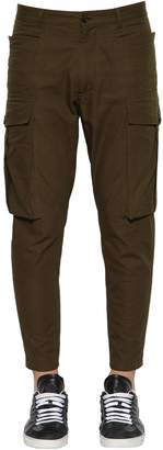 DSQUARED2 Rip Stop Cotton Cargo Pants W/ Zips