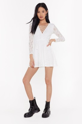 Nasty Gal Womens No Lace Like You Lace-Up Dress - White