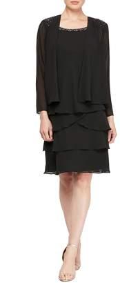 SL Fashions Embellished Ruffle Tier Jacket & Dress 2-Piece Set