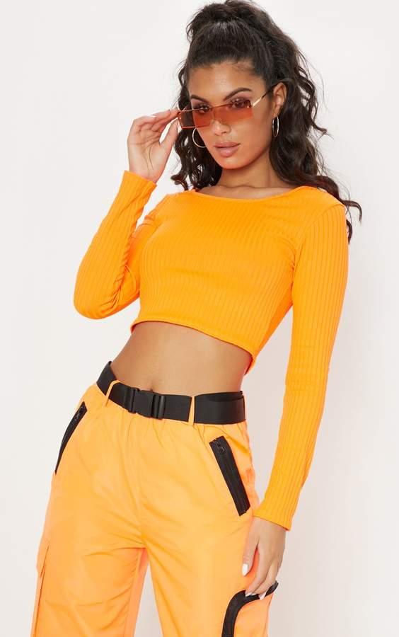 6c7c0c109db6 PrettyLittleThing Orange Long Sleeve Tops For Women - ShopStyle UK