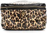Tory Burch Brown Patent Leather Animal Print Cosmetic Handbag Size Small