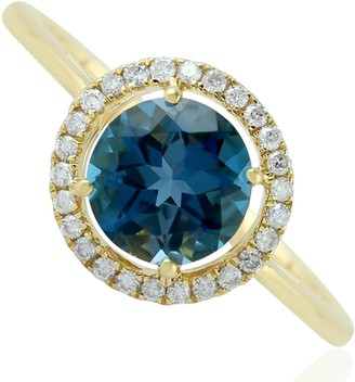 Artisan 18Kt Solid Yellow Gold Pave Diamond Blue Topaz Women Ring Handmade Jewelry