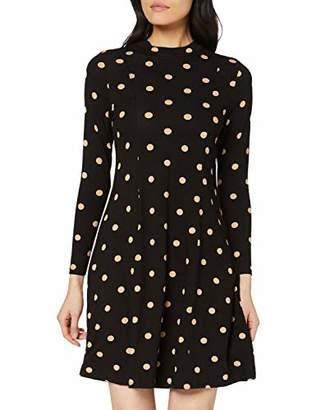 Dorothy Perkins Women's Ochre Spotted Jersey Fit & Flare Dress, Black (Black 0), (Size:)