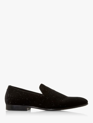Dune Stargazes Flecked Round Toe Velvet Loafers, Black